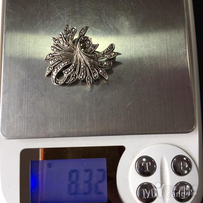 8053欧洲回流老银镶嵌铁矿石胸针图8