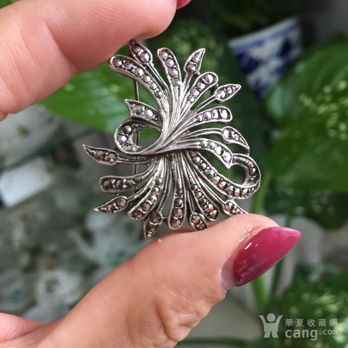 8053欧洲回流老银镶嵌铁矿石胸针图12