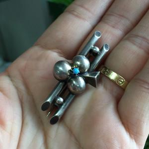 8054欧洲回流银嵌绿松石胸针