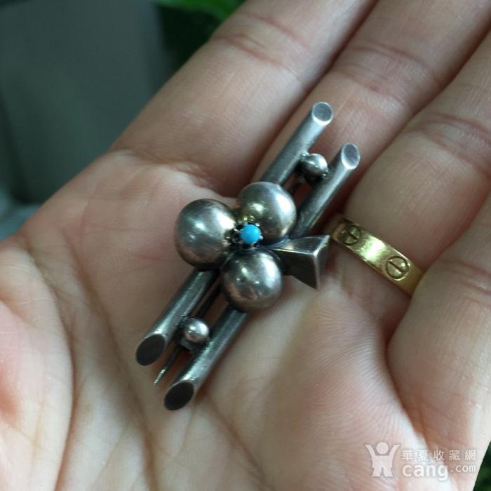 8054欧洲回流银嵌绿松石胸针图1
