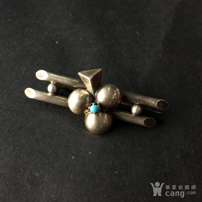 8054欧洲回流银嵌绿松石胸针图2