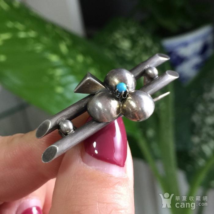 8054欧洲回流银嵌绿松石胸针图9