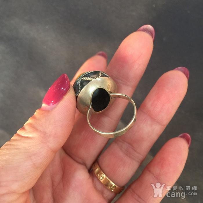 8060欧洲回流白铜镶嵌蜜蜡戒指图4