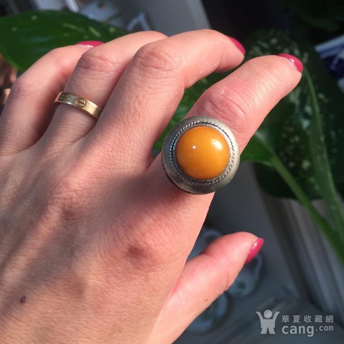 8060欧洲回流白铜镶嵌蜜蜡戒指图7