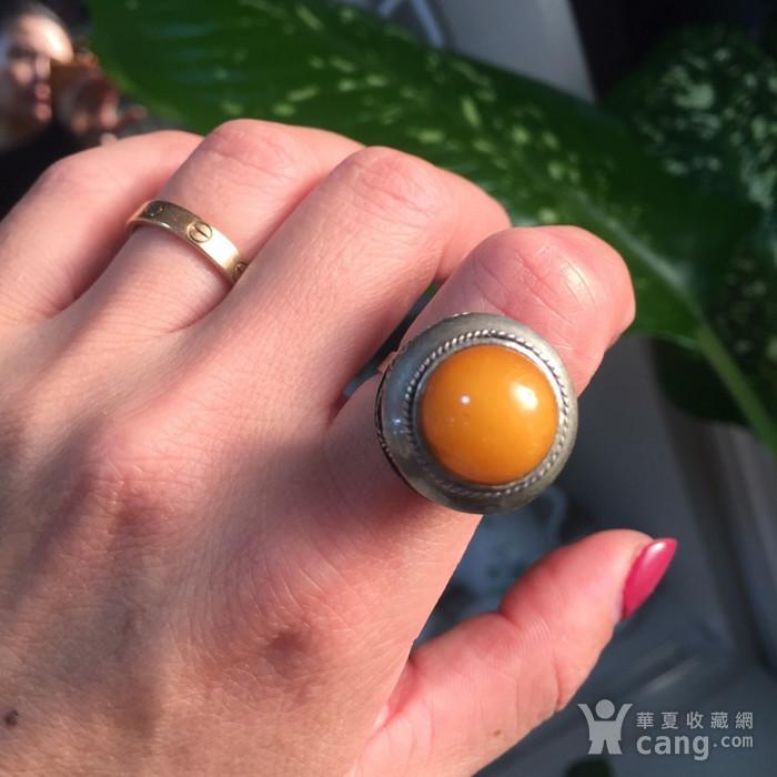 8060欧洲回流白铜镶嵌蜜蜡戒指图9