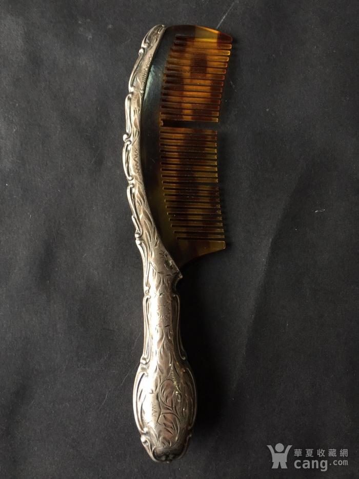 8073欧洲回流錾刻工艺银玳瑁梳子图3