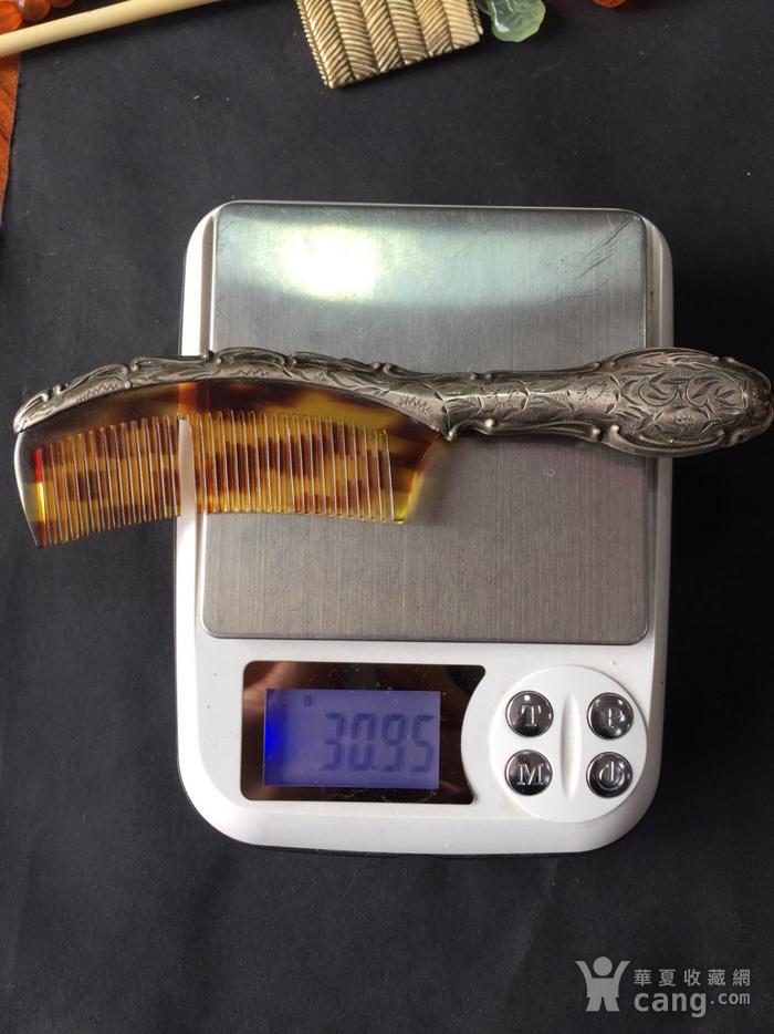 8073欧洲回流錾刻工艺银玳瑁梳子图11