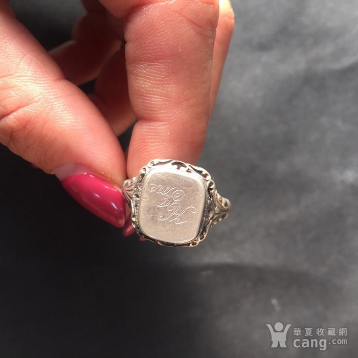 8074欧洲回流带族徽款银戒指图1