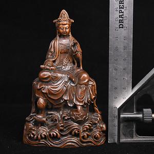 旧藏小叶黄杨木雕持经观音人物摆件