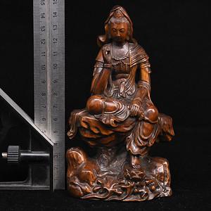 旧藏小叶黄杨木雕自在观音摆件