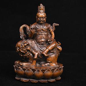 旧藏小叶黄杨木雕黄财神人物摆件