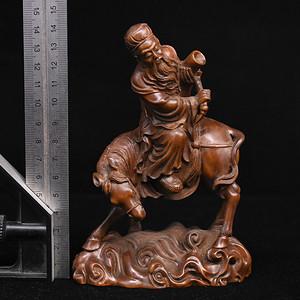 旧藏小叶黄杨木雕张果老倒骑毛驴人物摆件