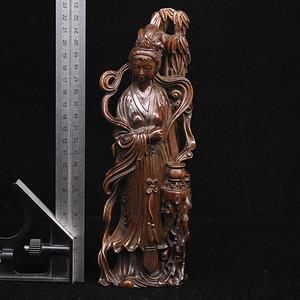 旧藏小叶黄杨木雕美女人物摆件