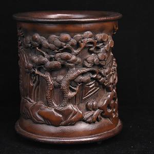 旧藏竹雕镶红木底口笔筒