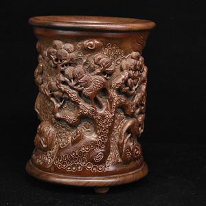 旧藏竹雕镶红木底口纯手工笔筒