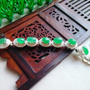 冰润满绿蛋型镶铜手链