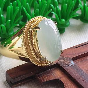 冰种绿蛋型镶铜戒指
