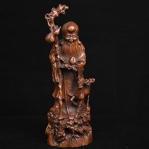 旧藏小叶黄杨木雕寿星人物摆件