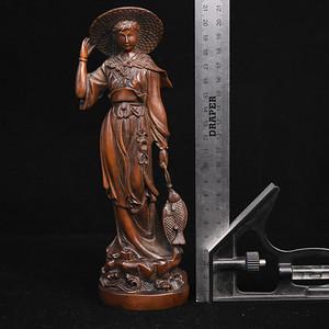 旧藏小叶黄杨木雕渔家女人物摆件