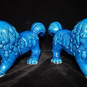 回流之孔雀蓝站大狮一对之二