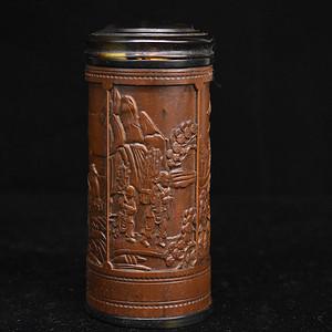 旧藏小叶黄杨木雕茶叶罐