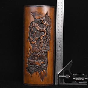 竹雕镶红木边臂胳摆件