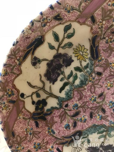 7528 欧洲回流粉彩花卉圆盘图3