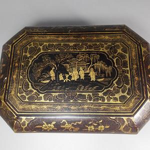 民国黑漆描金文盒