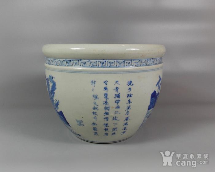 晚清青花山水诗文画缸图3