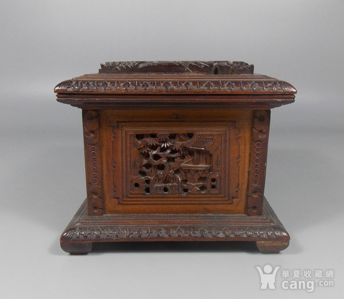 民国檀香木人物雕宝盒图2