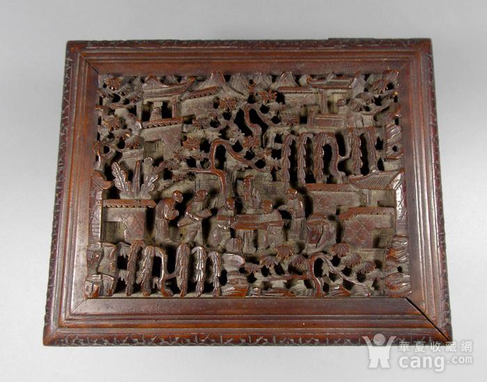 民国檀香木人物雕宝盒图5
