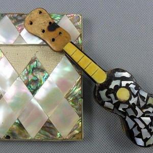 五彩珍珠名片盒木嵌珍珠吉他