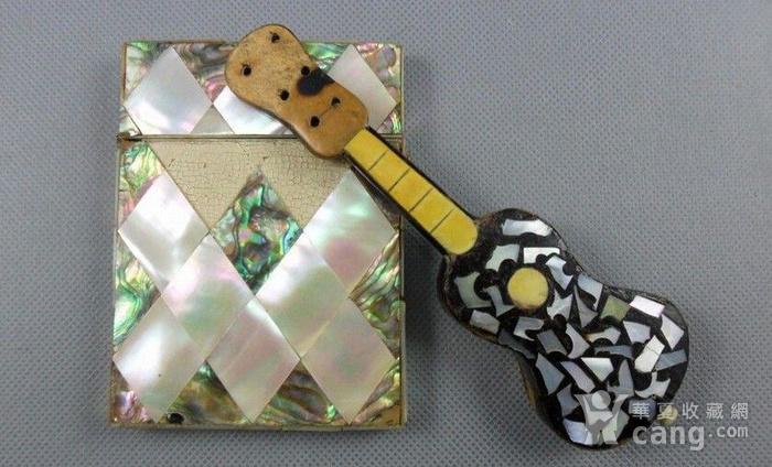 五彩珍珠名片盒木嵌珍珠吉他图1