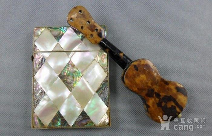 五彩珍珠名片盒木嵌珍珠吉他图2