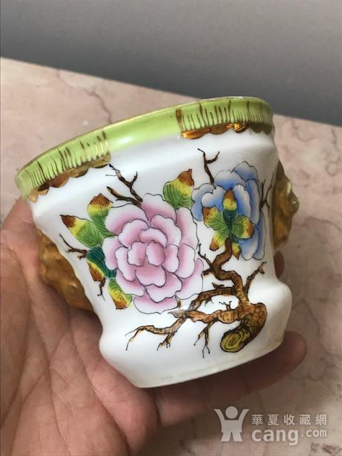 7532 民国粉彩花卉兽耳小花盆图3