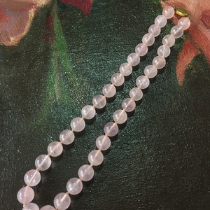 8114欧洲回流银鎏金扣头粉水晶项链