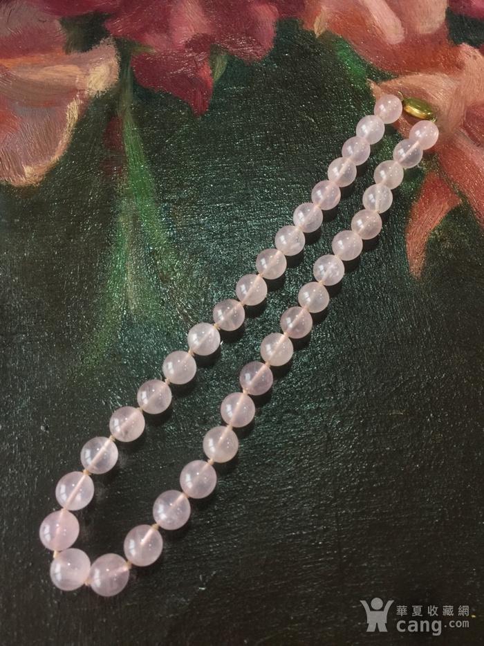 8114欧洲回流银鎏金扣头粉水晶项链图1