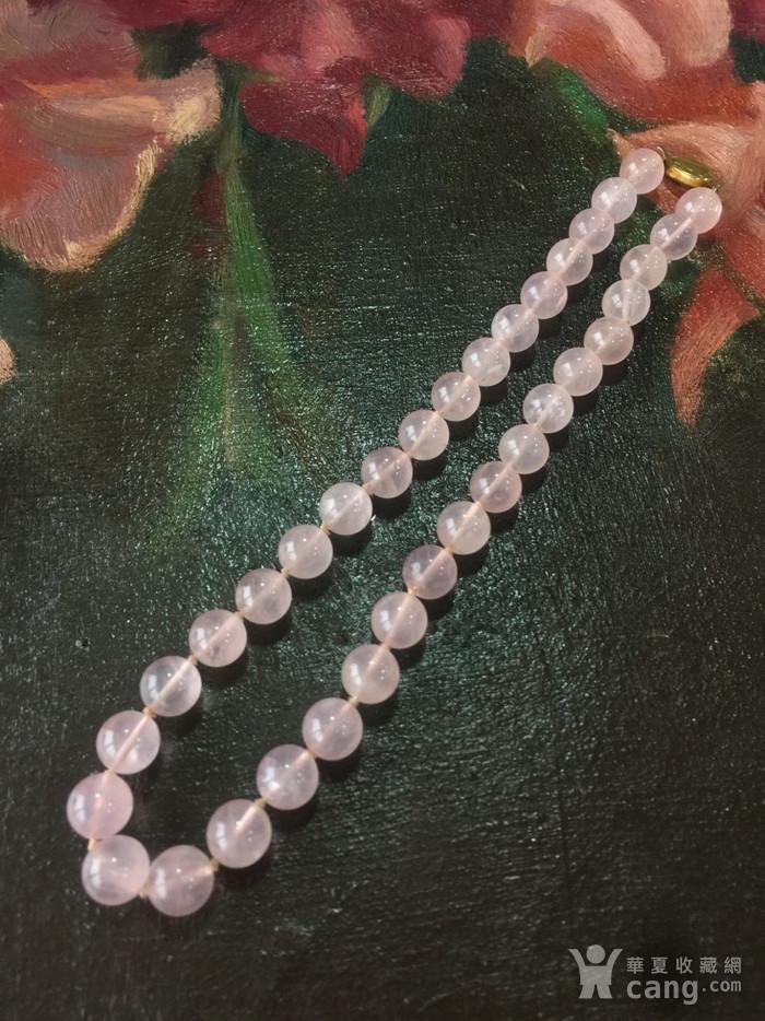 8114欧洲回流银鎏金扣头粉水晶项链图2
