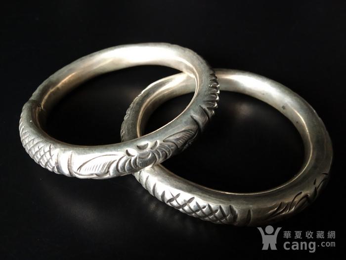 清代 双龙纹银手镯图1