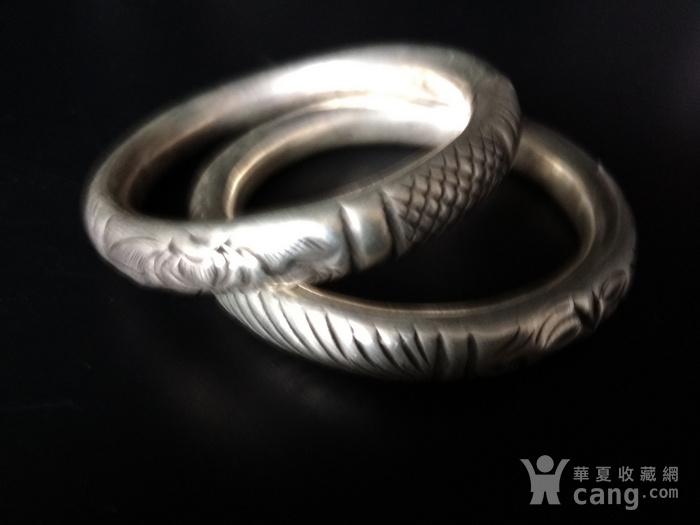 清代 双龙纹银手镯图3