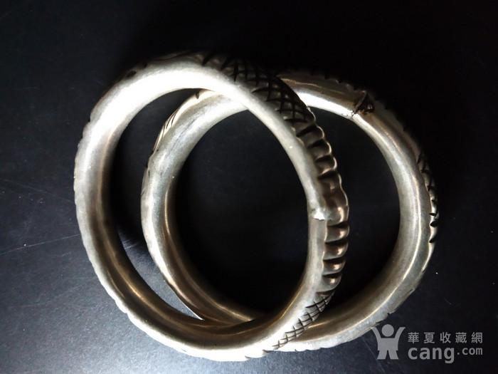 清代 双龙纹银手镯图4