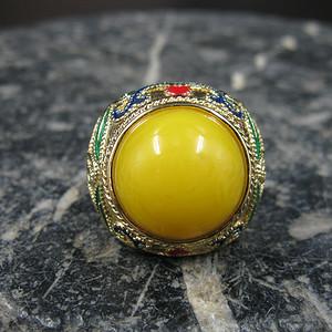 掐丝珐琅银鎏金蜜蜡指环