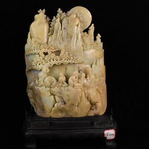 苏工纯手工雕寿山石金包银人物珊子摆件