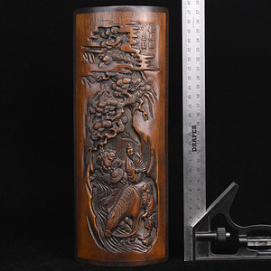 旧藏竹雕镶红木底口臂搁摆件
