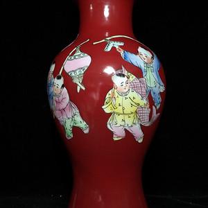 美国回流的创汇时期欢天喜地中国红瓶