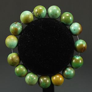 天然原矿俏色绿松石园珠手链