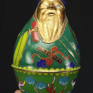 鎏金铜胎掐丝珐琅铜像茶叶盒