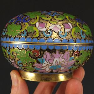 国外回流铜胎掐丝珐琅 茶叶盖盒
