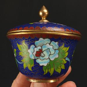 国外回流铜胎掐丝珐琅 茶叶盖罐