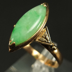 14K金镶嵌 天然绿翡翠 戒指